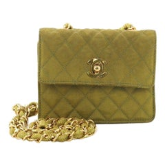 Chanel Vintage CC Chain Flap Bag Quilted Canvas Extra Mini
