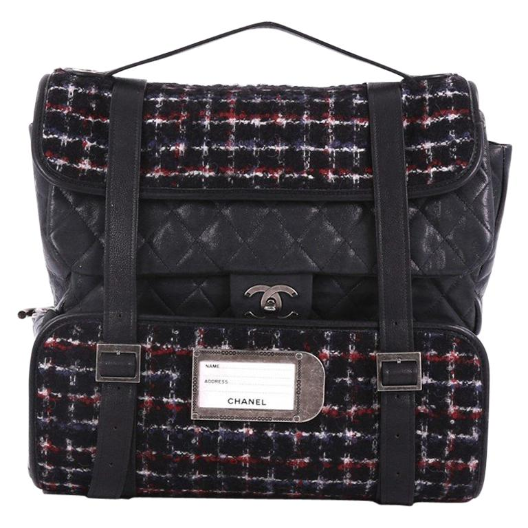 9ba829898691d8 Chanel Roll Backpack Tweed with Quilted Calfskin Medium For Sale at 1stdibs