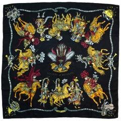 Hermes Vtg Les Fetes Du Roi Soleil By Michel Duchene 90cm Silk Jacquard Scarf