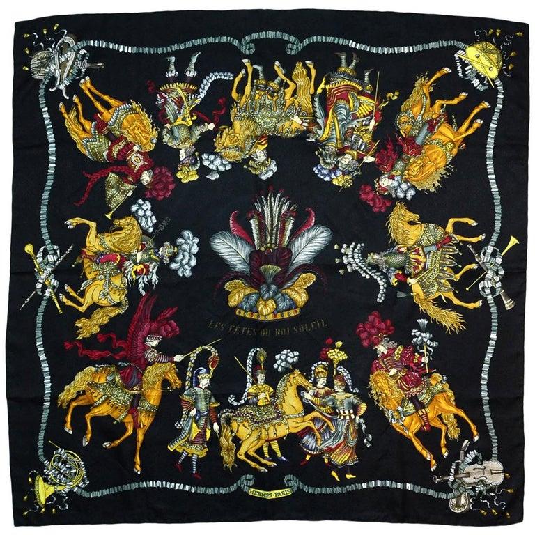 Hermes Vtg Les Fetes Du Roi Soleil By Michel Duchene 90cm Silk Jacquard Scarf For Sale
