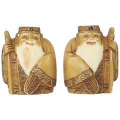 Vintage Japanese Carved Wise Man Cufflinks