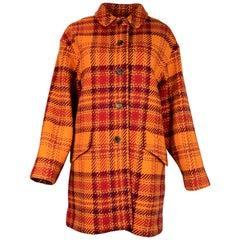 Burberry Orange/Red Wool Tartan Plaid Coat Sz XL