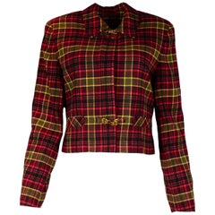 Burberry Red Plaid Tartan Zip Up Jacket/Blazer Sz 10