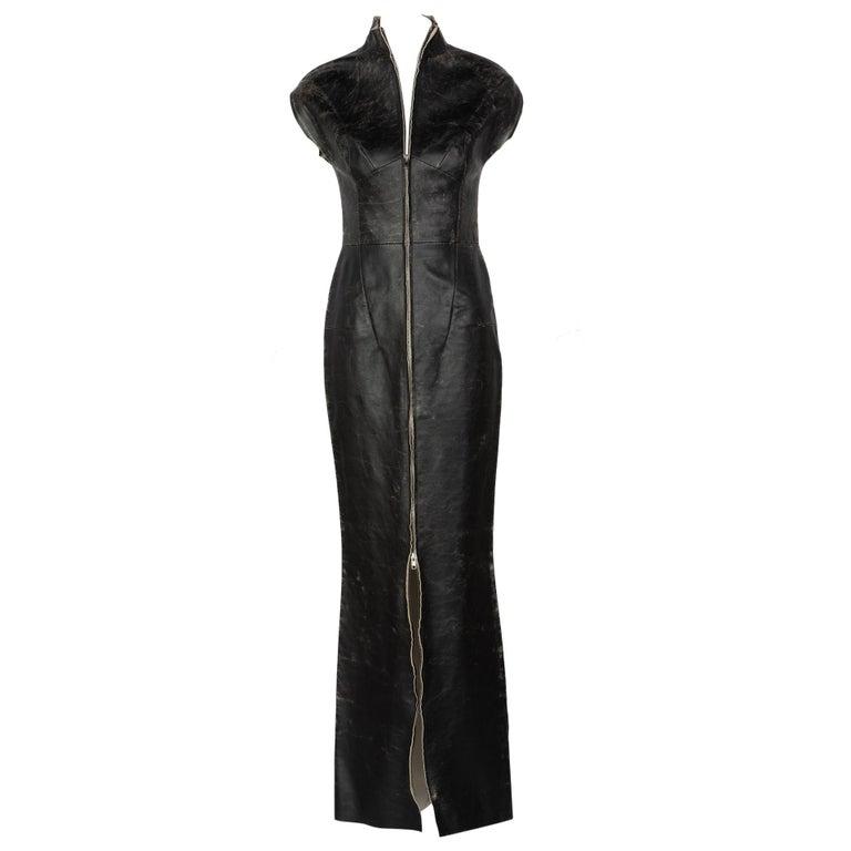 57067b21608 Maison Martin Margiela White Label Black Leather Zipper Dress