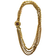 Chanel Vintage 1984 6 Strand Goldtone Chain-link Gripoix Necklace