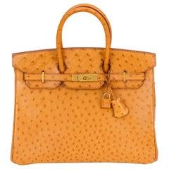 Rare Hermes Birkin 35 Ostrich Sable Gold Bag