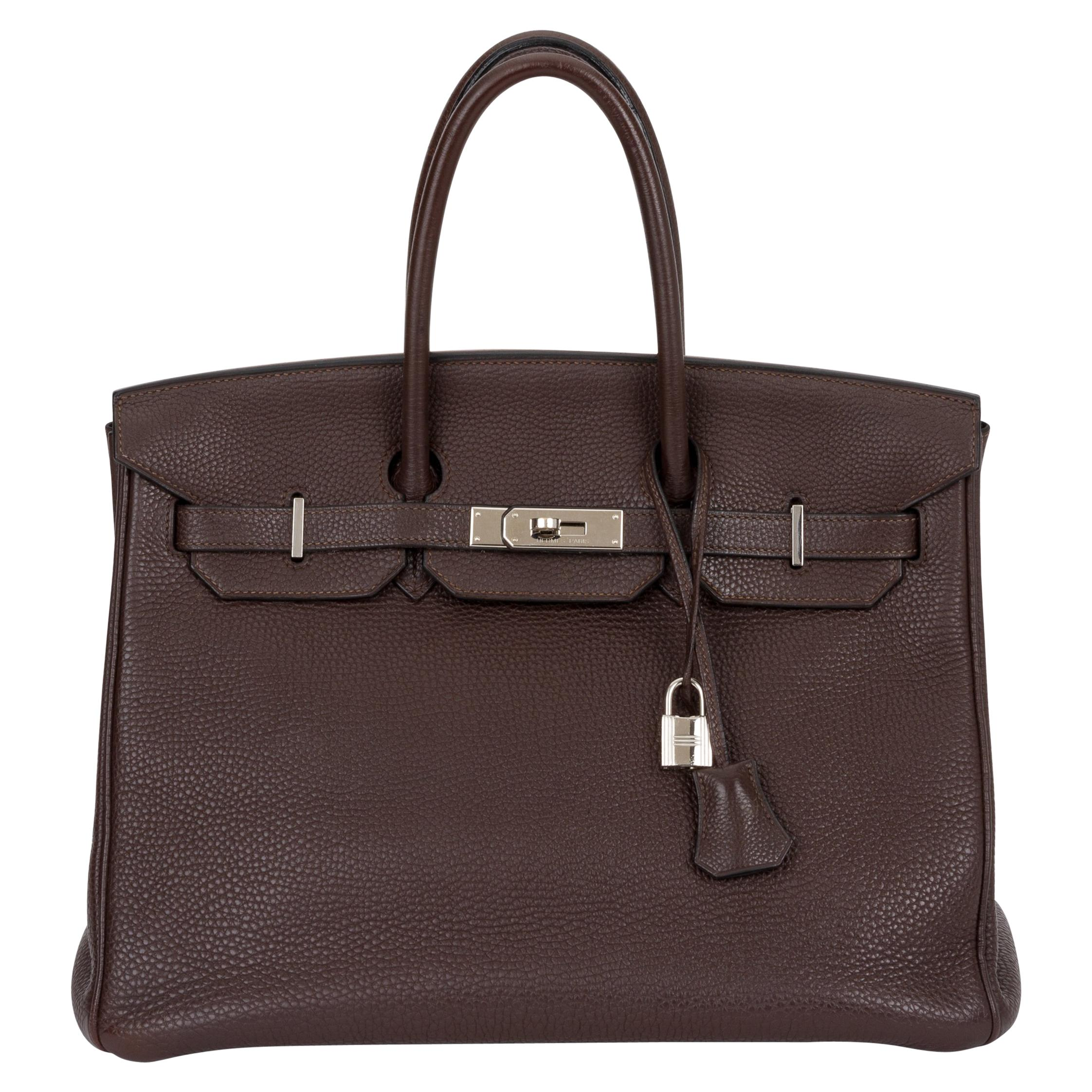Hermes Birkin 35 Ebene Clemence Leather Bag