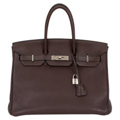 Hermes Birkin 35 Ebene Clemence Leather Bag