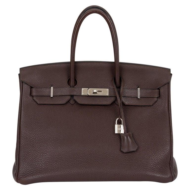 Hermes Birkin 35 Ebene Clemence Leather Bag For Sale