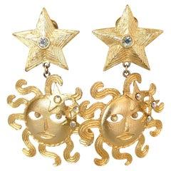 1980s Tara Sun Goddess and Star Statement Earrings