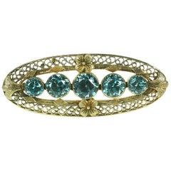 Art Deco Blue Zircon Brooch