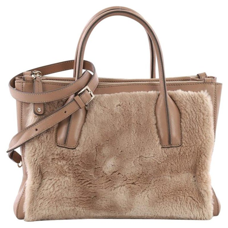 Tod's D Cube Double Zip Tote Fur with Leather Small For Sale