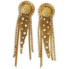 1980s Jack Smile Rhinestone Dangle Earrings