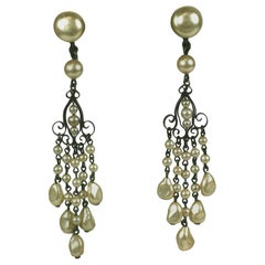 Louis Rousselet Long Pearl Earrings