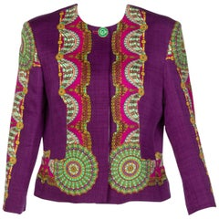 Gianni Versace Couture Purple Green Print Jacket, 1990s