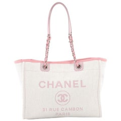 Chanel Deauville Chain Tote Raffia Small