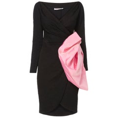 Yves Saint Laurent, Black dress with pink bow, circa 1987