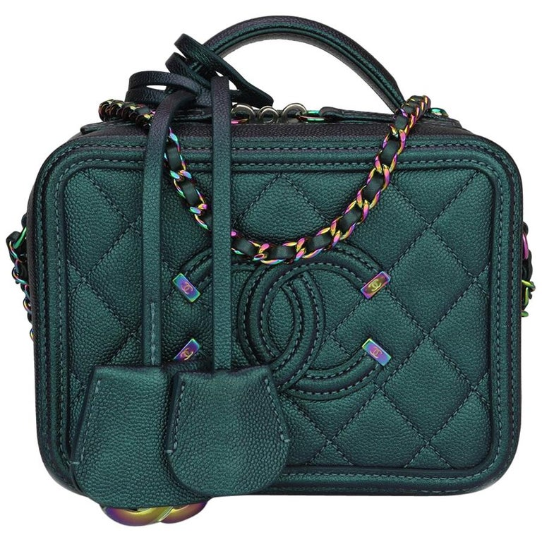 11bce144d82370 CHANEL Small CC Filigree Vanity Case Iridescent Dark Turquoise Caviar w/RHW  2018 For Sale
