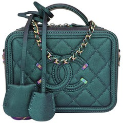 CHANEL Small CC Filigree Vanity Case Iridescent Dark Turquoise Caviar w/RHW 2018