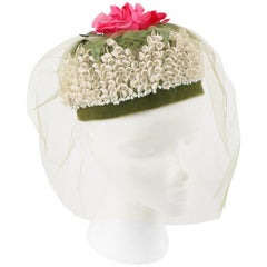 MISS FEIGE c.1960's Lily of the Valley Veiled Floral Garden Party Pillbox Hat