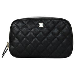 Chanel '18 Black Caviar Leather Curvy Classic Pouch Cosmetic Bag