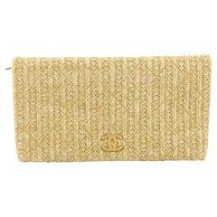 Chanel CC Clutch Quilted Woven Raffia Medium