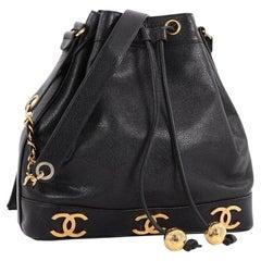 Chanel Vintage CC Drawstring Bucket Bag Caviar Medium