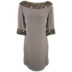 MONIQUE LHUILLIER Size 6 Grey Silk Crystal Trim 3/4 Sleeve Cocktail Dress