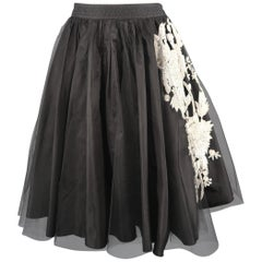 VALENTINO Size 4 Black Floral Sequin Tulle Overlay A Line Skirt