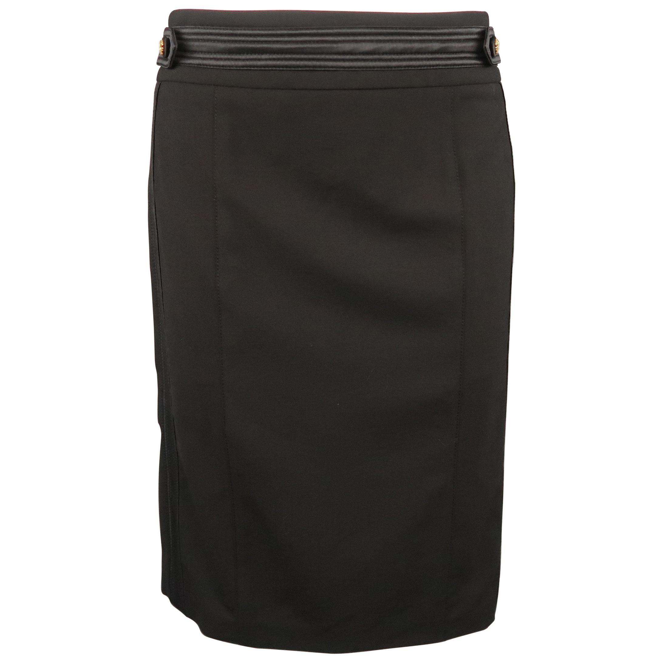 ROBERTO CAVALLI Size 6 Black Satin Trim Gold Button Tab Pencil Skirt