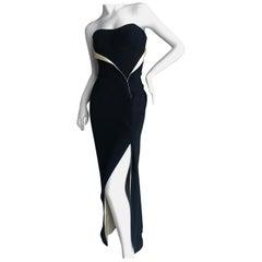 Thierry Mugler 80's Strapless Black Velvet Bustier Dress with Gold Silk Draping