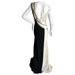 Oscar de la Renta Black and White Gown with Silver Snake Scale Sequin Details 8