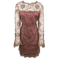 TOMASZ STARZEWSKI Size 10 Burgundy Metallic Lace Long Sleeve Cocktail Dress