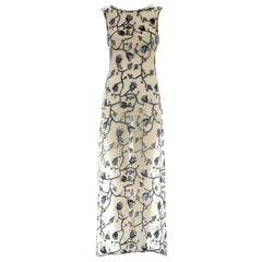 Prada ivory silk devoré floral maxi dress with train and slip dress, ca. 1997