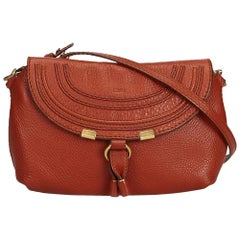 Chloe Red Small Leather Marcie Crossbody Bag