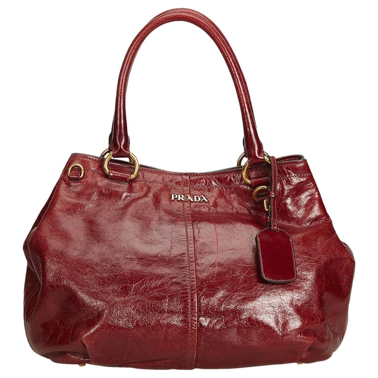 5698d2ac094a Prada Red Leather Tote Bag at 1stdibs