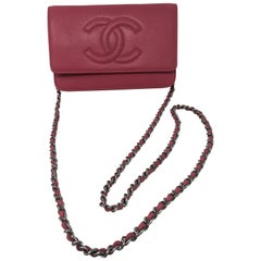 Chanel Pink Caviar Wallet On A Chain