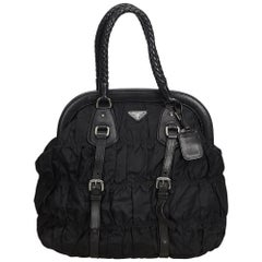 Prada Black Gathered Nylon Handbag