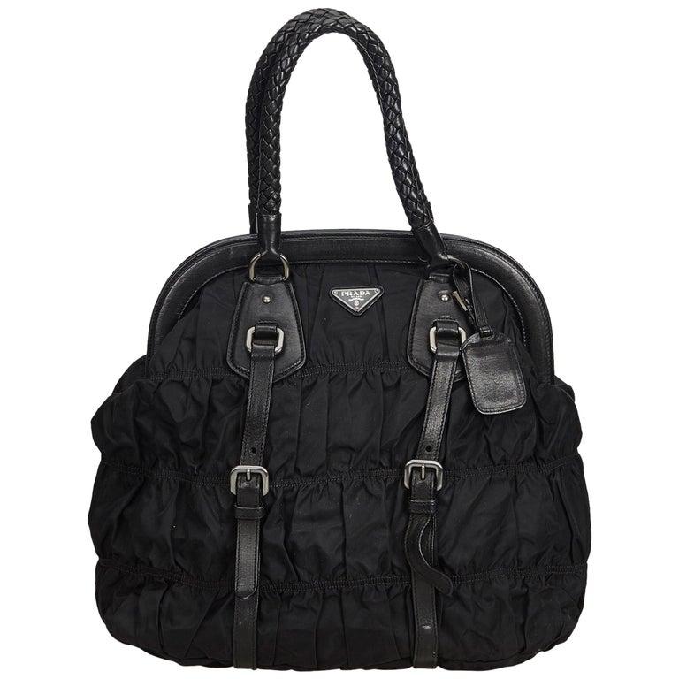 c65142a2520b Prada Black Gathered Nylon Handbag at 1stdibs