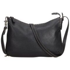 Fendi Black Leather Selleria Crossbody Bag