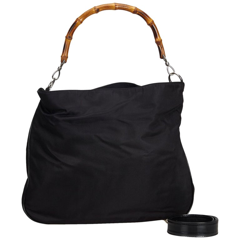 Gucci Black Bamboo Canvas Satchel For Sale