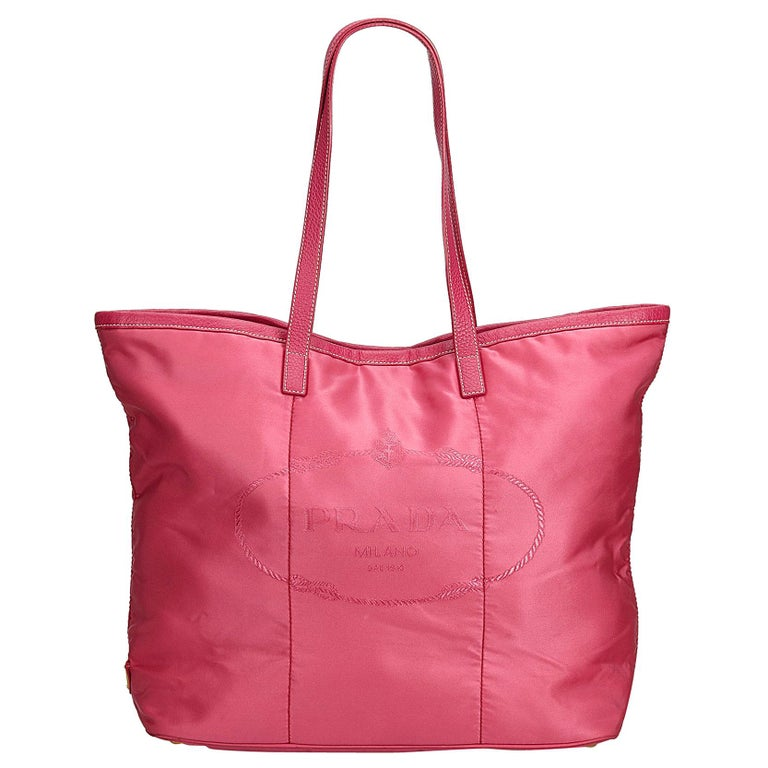 a3976a329fe1 Prada Pink Logo Nylon Tote Bag at 1stdibs