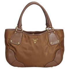 Prada Brown Fabric Nylon Tote Bag