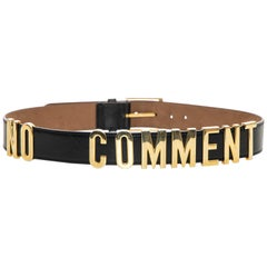 "Moschino ""No Comment"" Black Redwall Leather Belt, Circa: 1990's"
