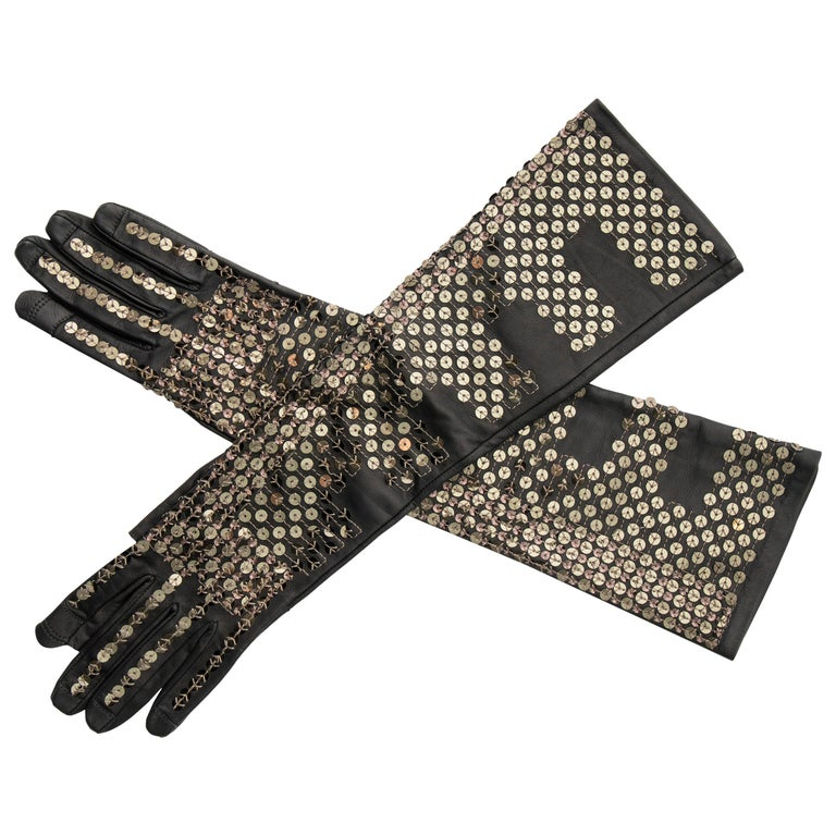 Rick Owens Black Dark Dust Sphinx Long Leather Sequins Gloves, Fall 2015 For Sale