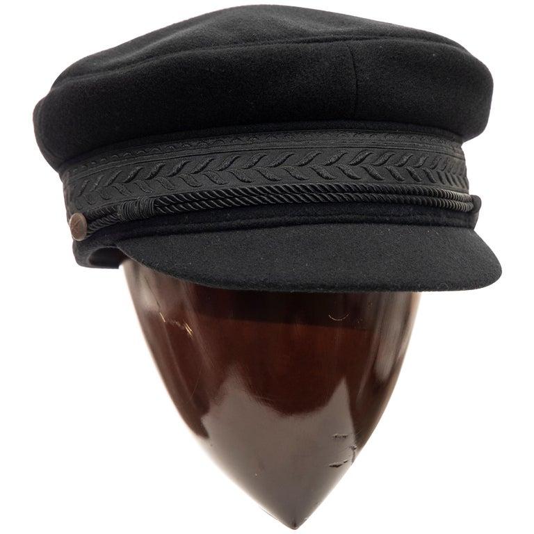 Yohji Yamamoto Pour Homme Black Wool Cashmere Greek Fisherman's Cap, Fall 2012 For Sale