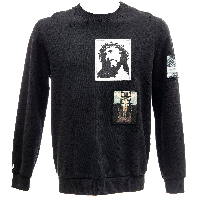 Riccardo Tisci for Givenchy Black Men's Distressed Sweatshirt, Spring 2016