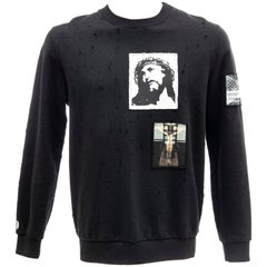 Riccardo Tisci for Givenchy Black Men's Distressed Sweatshirt, Spring 2016