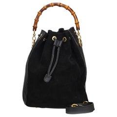 Gucci Black Bamboo Suede Bucket Bag
