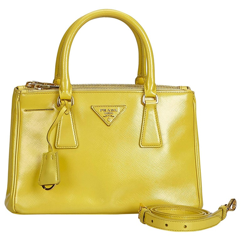 b5cc93b0a88a Prada Yellow Saffiano Mini Galleria at 1stdibs